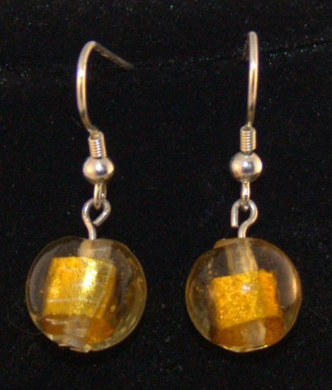 Yellow Glass Lampwork Bead earrings