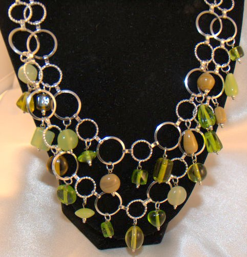 Unique Green Glass Beaded Metal Chain Necklace