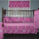 Pink John deere block crib bumper