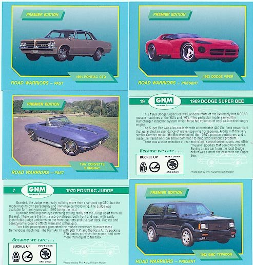 ROAD WARRIORS COLLECTOR CAR CARS CARDS SET MUSCLECARS CHEVY PONTIAC DODGE GMC FORD