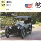1916 16 BUICK D-45 SERIES D TOURER COLLECTOR COLLECTIBLE INFO CAR CARD NICE