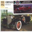 1931 31 1932 32 CHRYSLER DELUXE CD COLLECTOR COLLECTIBLE