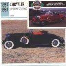 1931 31 CHRYSLER IMPERIAL SERIES CG CUSTOM CONVERTIBLE COLLECTOR COLLECTIBLE