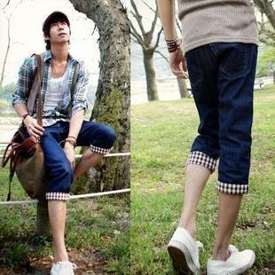 2504100003 Mens casual denim middle pants