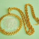 Vtg TRIFARI Zodiac Taurus Intaglio Necklace Pendant