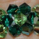Esmerald and Peridot Swarovski Crystals Ring