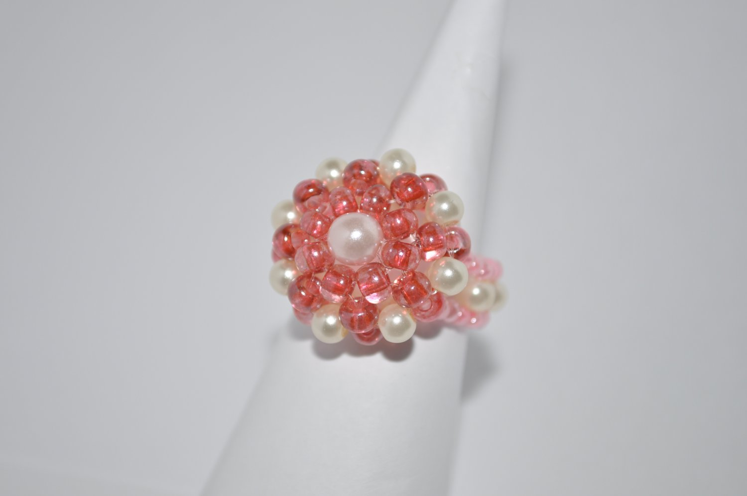Pink and Cream Glass Pearls Ring