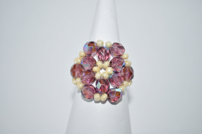 Amethyst and Cream Czech Glass Ring
