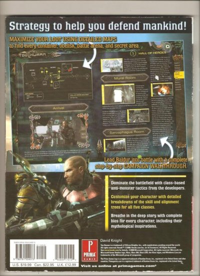 Too Human Xbox 360 Prima official strategy guide book