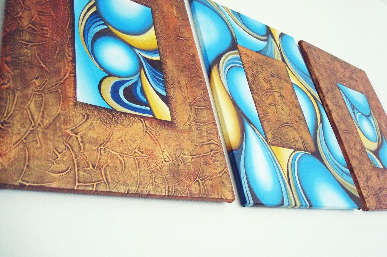 ORIGINAL MODERN abstract OIL PAINTINGS own REAL ART!