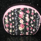 Small Pink & Yellow Roses in Black Coin Bag