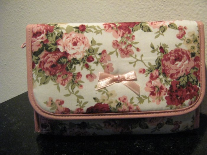 pink & red roses cosmetic bage with miror inside