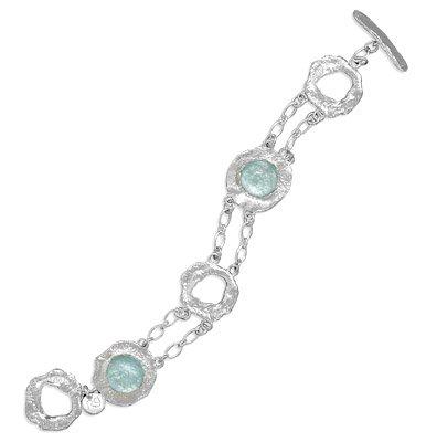 Roman Glass & Textured Silver Toggle Bracelet