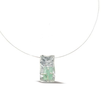 Roman Glass & Textured Silver, Rectangle Necklace