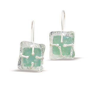 Roman Glass & Textured Silver Earrings