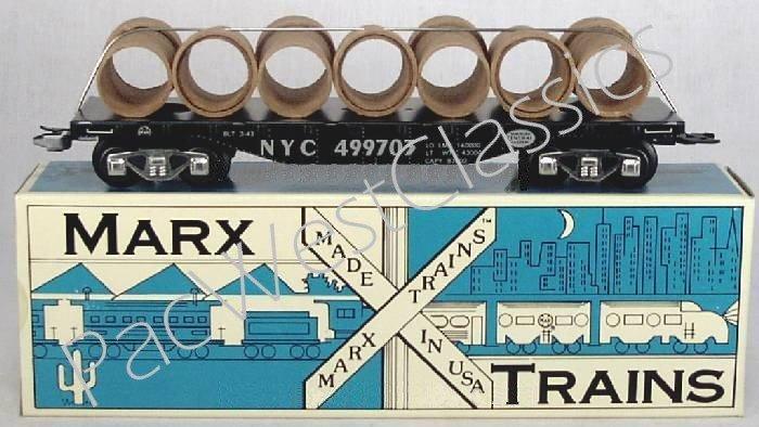 NEW MARX TRAINS NYC Flatcar w/Culvert Load / MINT