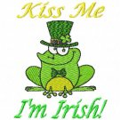 Kiss Me I'm Irish St Patrick Frog Machine Embroidery Design