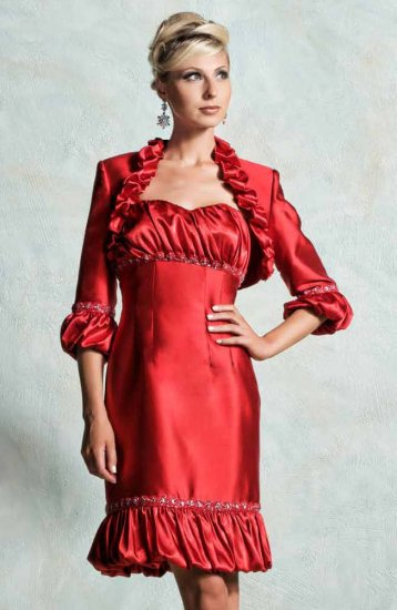 MAC DUGGAL 5316D $398 RED DRESS W/JACKET FREE SHIPPING