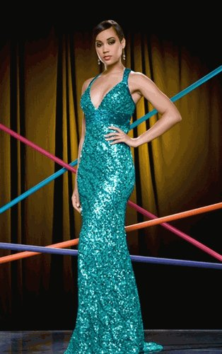 FLASH 3298L $250 Sequined Gown RED or TEAL