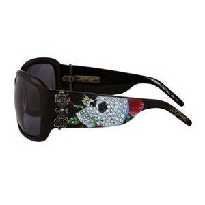 ED HARDY Skull And Roses $195 Crystal Sunglasses FREE SHIPPING