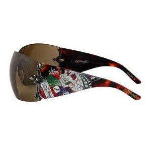 ED HARDY Brad Shield $169 Crystal Sunglasses Tortoise/Brown FREE SHIPPING