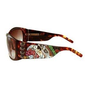 ED HARDY Love Dog $169 Crystal Sunglasses Tortoise/Brown Gradient FREE SHIPPING