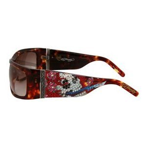 ED HARDY Beautiful Ghost $169 Shield Crystal Sunglasses Tortoise/Brown Gradient FREE SHIPPING