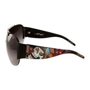 ED HARDY Japan Shield Tattoo $169 Crystal Sunglasses Black/Grey Gradient FREE SHIPPING