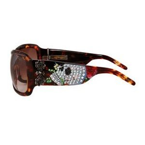 ED HARDY Skull and Roses $169 Wraparound Crystal Sunglasses Tortoise/Brown Gradient FREE SHIPPING