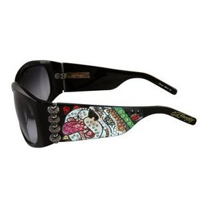 ED HARDY Love Dog $169 Wraparound Crystal Sunglasses Black/Grey Gradient FREE SHIPPING