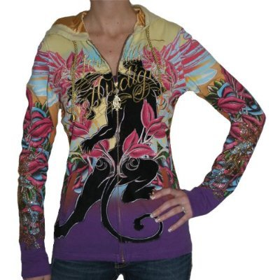 CHRISTIAN AUDIGIER Ed Hardy Platinum Tunic Hoodie Zip Up Sweatshirt Shirt $99 ON SALE FREE SHIPPING