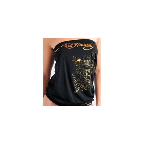 Ed Hardy Flower Foil Satin Touch Tube Top $69 FREE SHIPPING