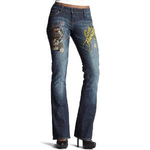 Ed Hardy Women's Freedom Studded Boot Cut Jeans $85 FREE SHIPPING