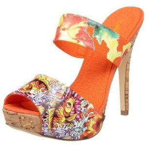 Ed Hardy Women's Robertson Platform Sandals ORANGE $69 FREE SHIPPING