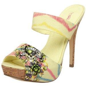 Ed Hardy Women's Robertson Platform Sandals YELLOW $69 FREE SHIPPING