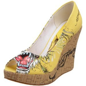 Ed Hardy Women's Casablanca Wedges YELLOW $59 SALE FREE SHIPPING