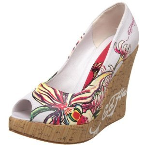 Ed Hardy Women's Casablanca Wedges WHITE FLORAL $59 SALE FREE SHIPPING