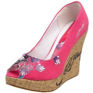 Ed Hardy Women's Casablanca Wedges PINK $59 SALE FREE SHIPPING