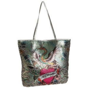 Ed Hardy Scarlet Sequined Tote $59 FREE SHIPPING