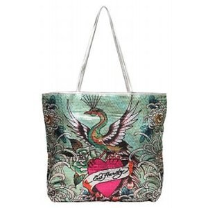 Ed Hardy Green Sequined Peacock Tote $59 FREE SHIPPING