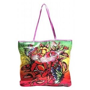 Ed Hardy Purple Sequined Butterfly Tote $59 FREE SHIPPING