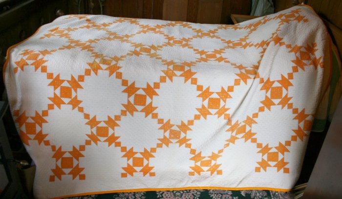 1890 antique quilt-chedder and white