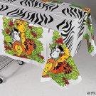 "3 ZOO ANIMAL Party TABLECLOTHS 54""x72"" Lion Tiger Zebra"