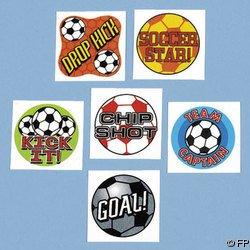 "72 SOCCER BALL Tattoos SPORTS Team FAVORS 1.5"" Football"