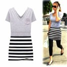 JESSICA ALBA Style / Short Sleeves V Neckline Stripes Dress / Women's Dresses (18010BC214-0851)