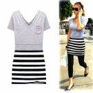 JESSICA ALBA Style / Short Sleeves V Neckline Stripes Dress / Women's Dresses (18010BC214-0851)