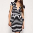 Stripes Pleated Deep V Neckline Dress / Women's Dresses (FF-1801BD010-0497)