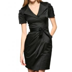 Pleated Short Sleeves Lapel Belted Dress / Women's Dresses (FF-1802BD011-0811