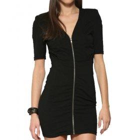 Front Zippers Short Sleeves Dress / Women's Dresses (FF-1801BD016-0789)