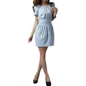 Gathered Short Sleeves Round Neckline Dress / Women's Dresses (FF-1802BD027-0736)